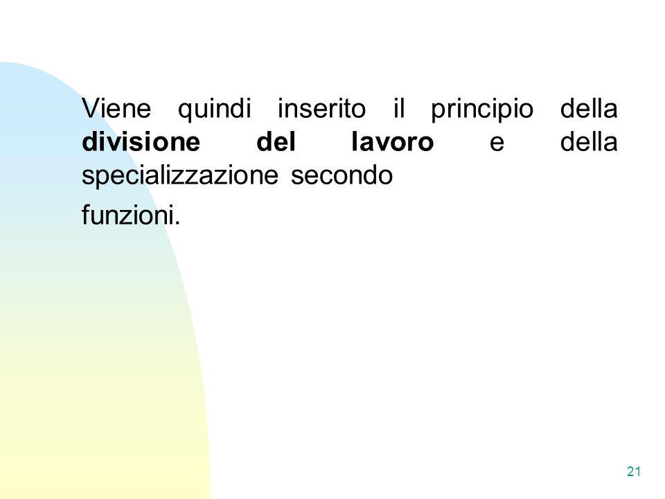 Viene quindi inserito il principio della divisione del lavoro e della specializzazione secondo funzioni.
