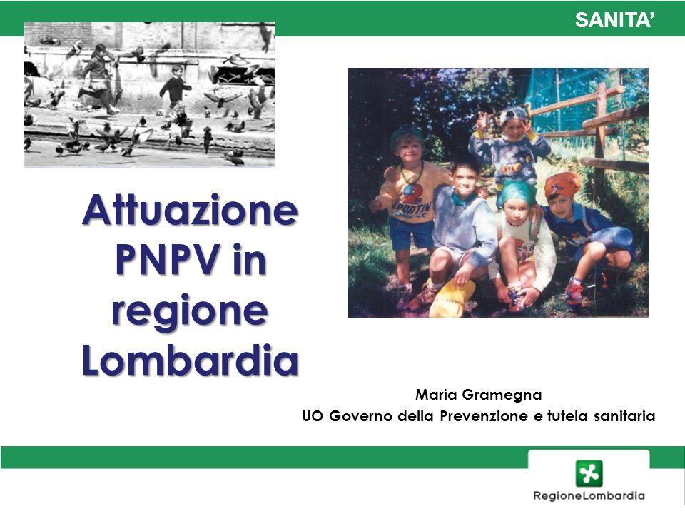 SANITA Attuazione PNPV in regione Lombardia Maria Gramegna UO Governo della Prevenzione e tutela sanitaria