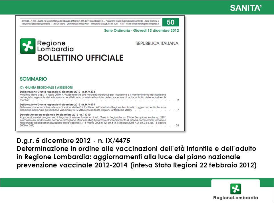 SANITA D.g.r. 5 dicembre 2012 - n. IX/4475 Determinazione in ordine alle vaccinazioni delletà infantile e delladulto in Regione Lombardia: aggiornamen