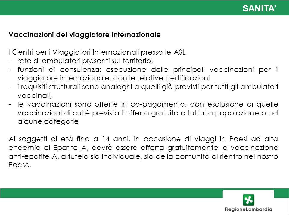 SANITA Vaccinazioni del viaggiatore internazionale I Centri per i Viaggiatori Internazionali presso le ASL -rete di ambulatori presenti sul territorio