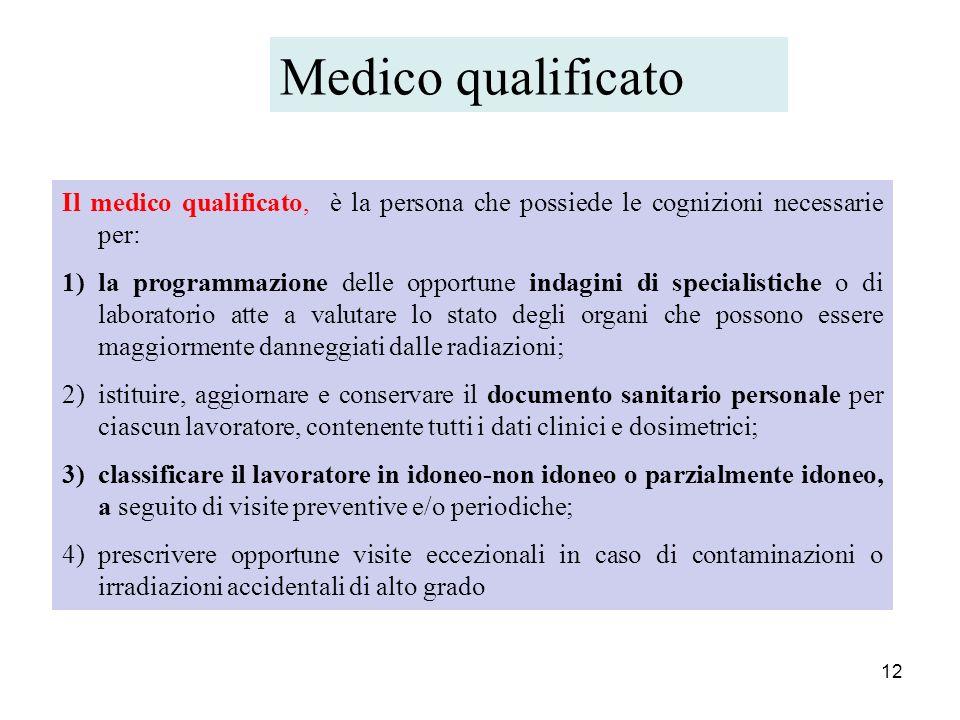 12 Il medico qualificato, è la persona che possiede le cognizioni necessarie per: 1)la programmazione delle opportune indagini di specialistiche o di