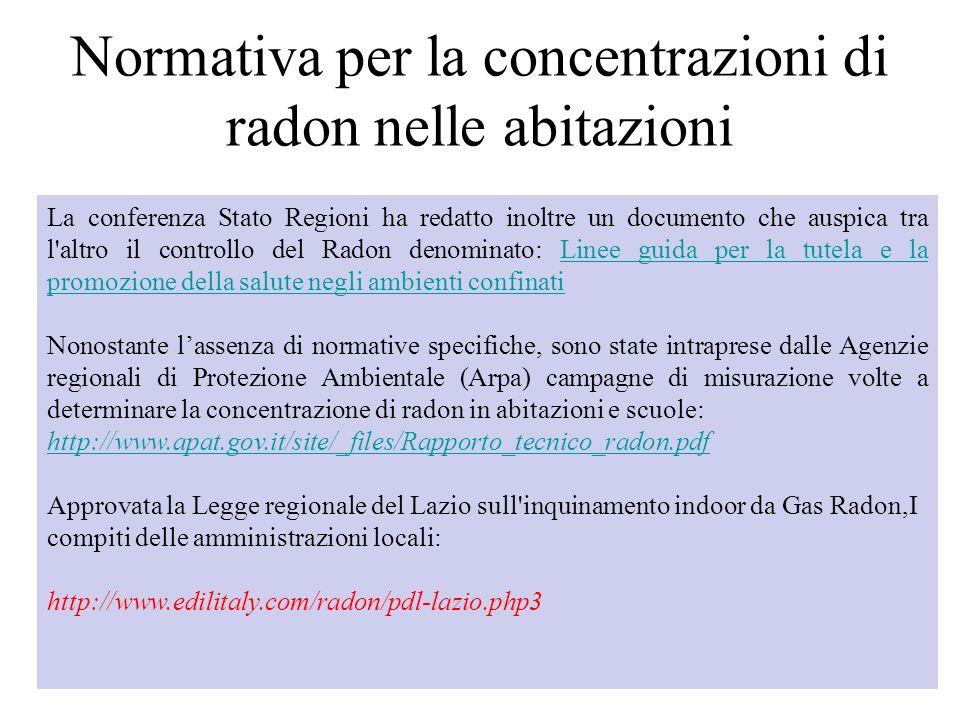 18 La conferenza Stato Regioni ha redatto inoltre un documento che auspica tra l'altro il controllo del Radon denominato: Linee guida per la tutela e