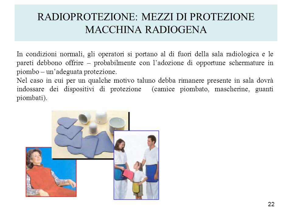 RADIOPROTEZIONE: MEZZI DI PROTEZIONE MACCHINA RADIOGENA 22 In condizioni normali, gli operatori si portano al di fuori della sala radiologica e le par
