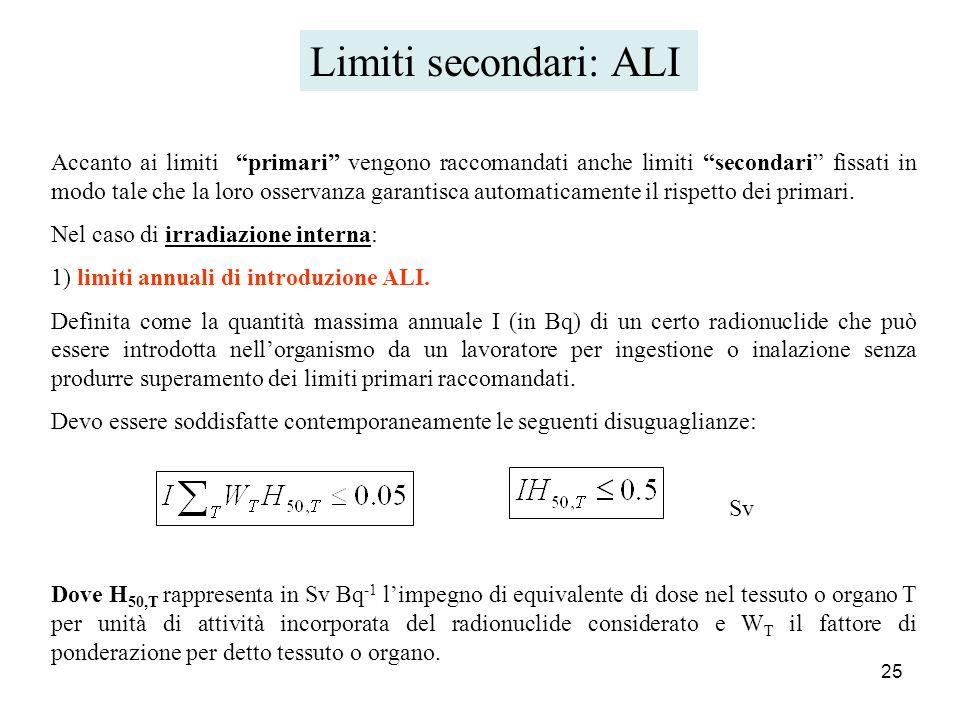 25 Accanto ai limiti primari vengono raccomandati anche limiti secondari fissati in modo tale che la loro osservanza garantisca automaticamente il ris
