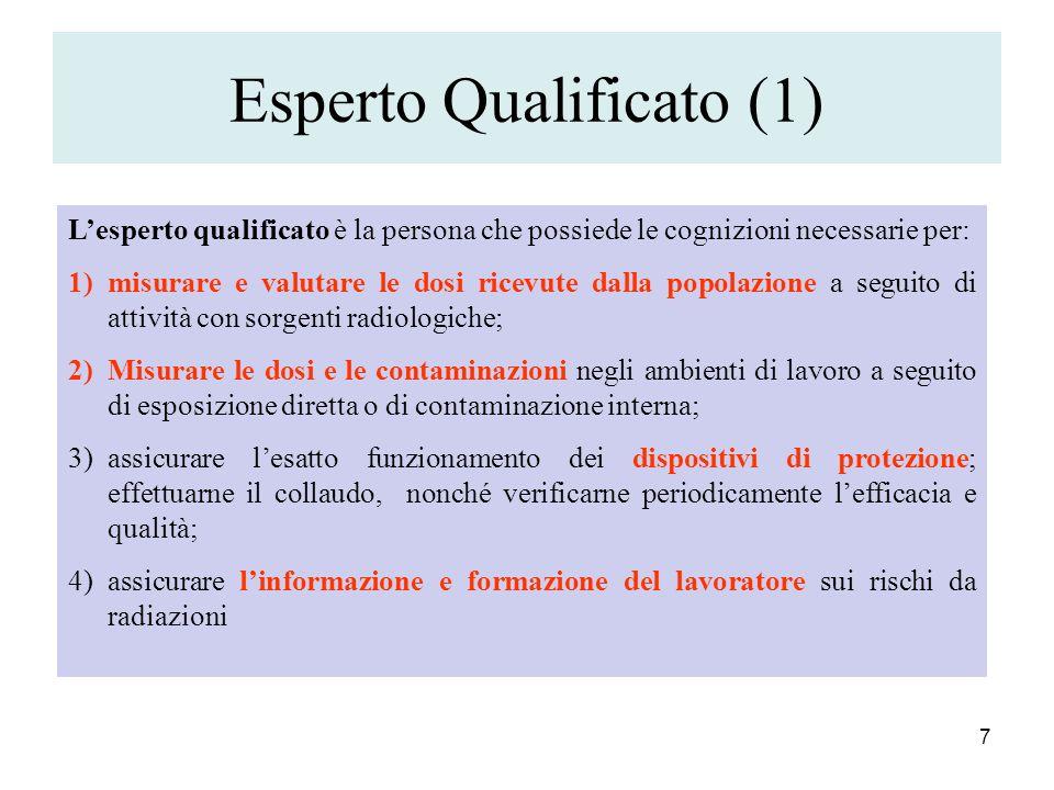 Esperto Qualificato (1) 7 Lesperto qualificato è la persona che possiede le cognizioni necessarie per: 1)misurare e valutare le dosi ricevute dalla po