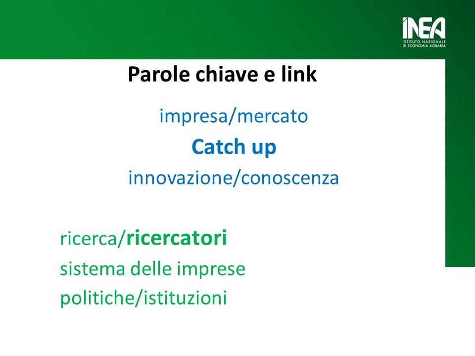 Parole chiave e link impresa/mercato Catch up innovazione/conoscenza ricerca/ ricercatori sistema delle imprese politiche/istituzioni