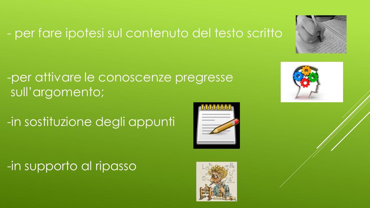 - per fare ipotesi sul contenuto del testo scritto -per attivare le conoscenze pregresse sullargomento; -in sostituzione degli appunti -in supporto al