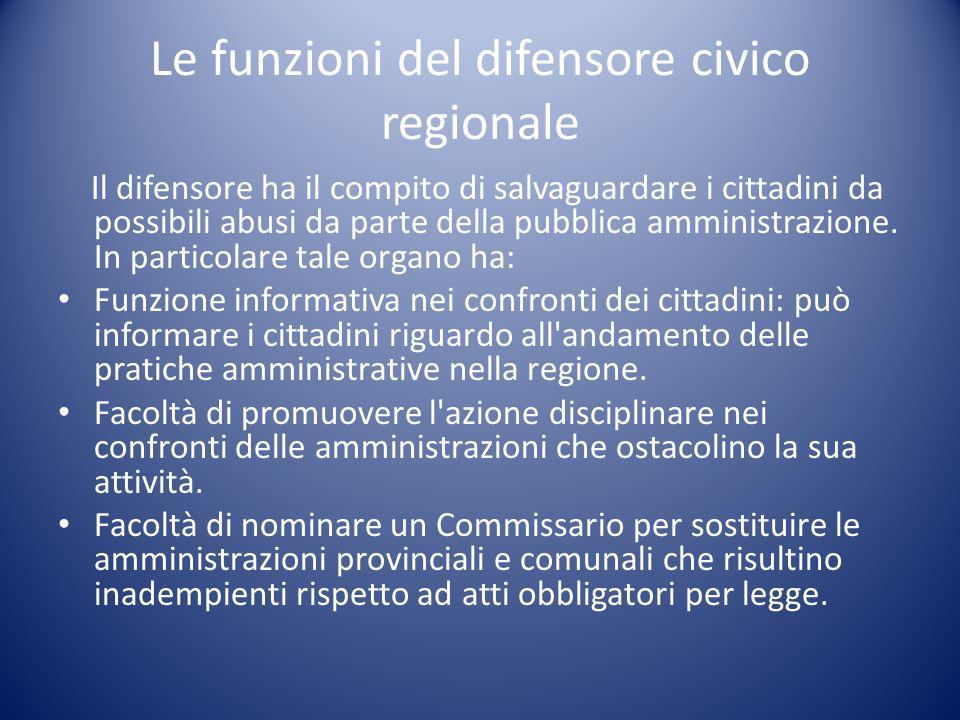 Le funzioni del difensore civico regionale Il difensore ha il compito di salvaguardare i cittadini da possibili abusi da parte della pubblica amminist