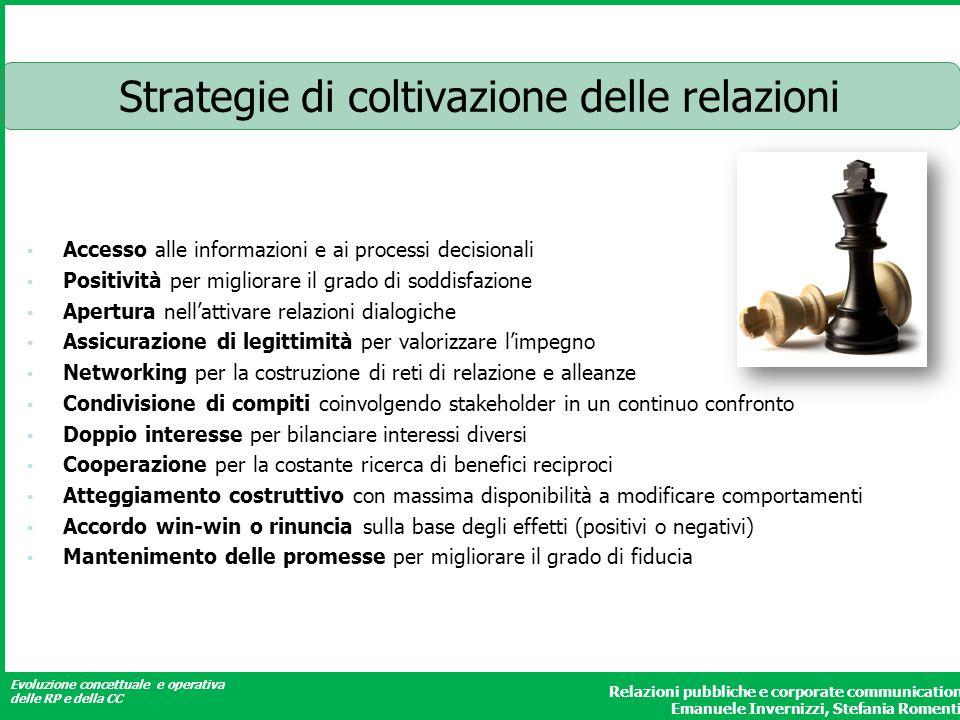 Evoluzione concettuale e operativa delle RP e della CC Relazioni pubbliche e corporate communication Emanuele Invernizzi, Stefania Romenti Strategie d