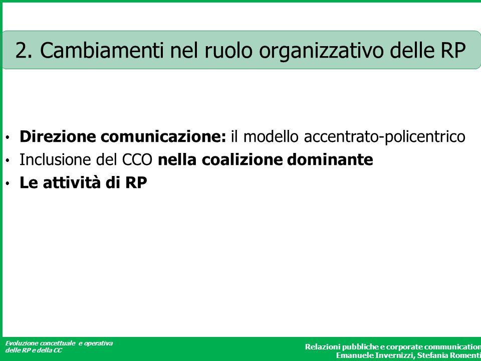 Evoluzione concettuale e operativa delle RP e della CC Relazioni pubbliche e corporate communication Emanuele Invernizzi, Stefania Romenti 2.