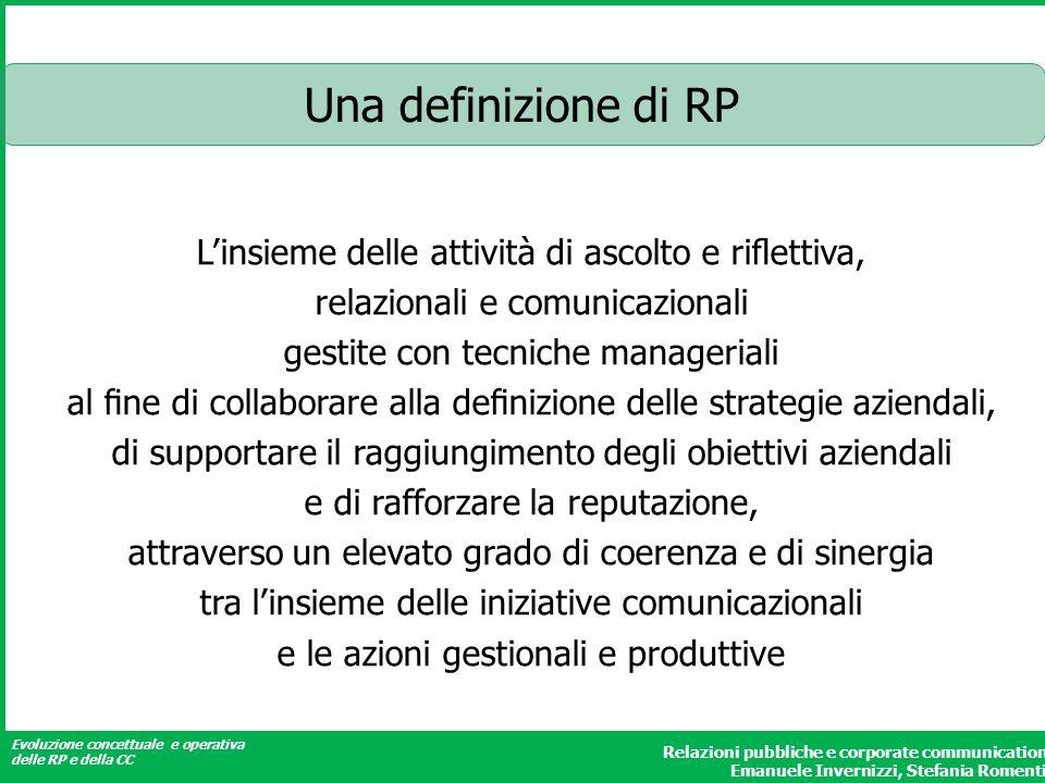 Evoluzione concettuale e operativa delle RP e della CC Relazioni pubbliche e corporate communication Emanuele Invernizzi, Stefania Romenti Una definiz