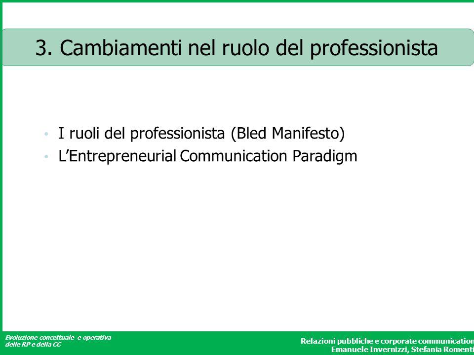 Evoluzione concettuale e operativa delle RP e della CC Relazioni pubbliche e corporate communication Emanuele Invernizzi, Stefania Romenti 3.