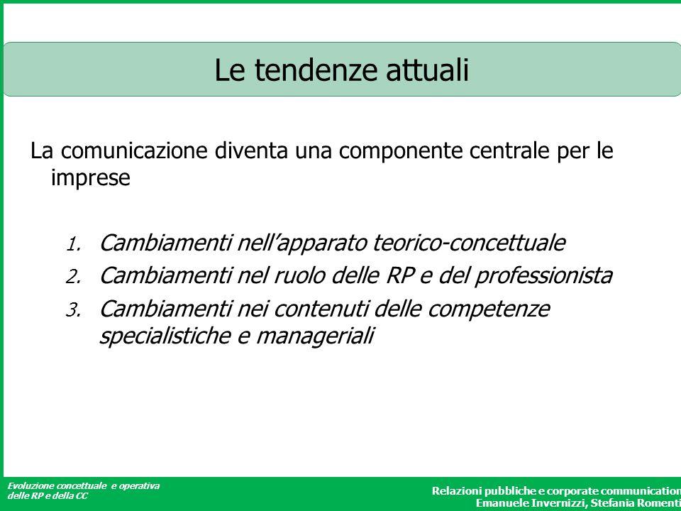 Evoluzione concettuale e operativa delle RP e della CC Relazioni pubbliche e corporate communication Emanuele Invernizzi, Stefania Romenti Le tendenze