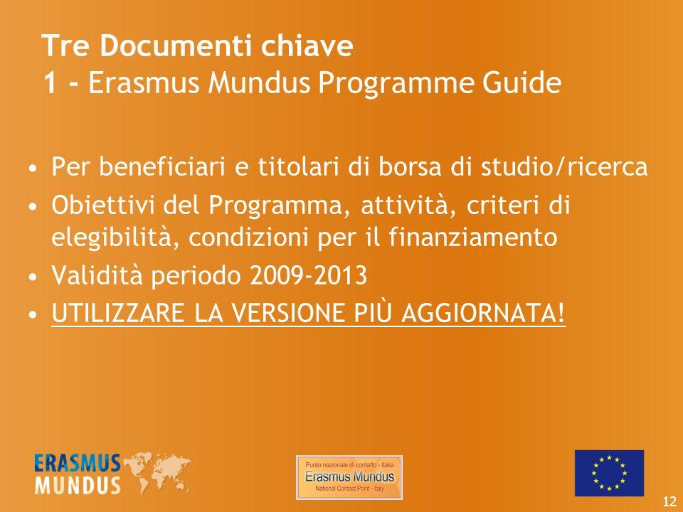 Tre Documenti chiave 1 - Erasmus Mundus Programme Guide Per beneficiari e titolari di borsa di studio/ricerca Obiettivi del Programma, attività, criteri di elegibilità, condizioni per il finanziamento Validità periodo 2009-2013 UTILIZZARE LA VERSIONE PIÙ AGGIORNATA.
