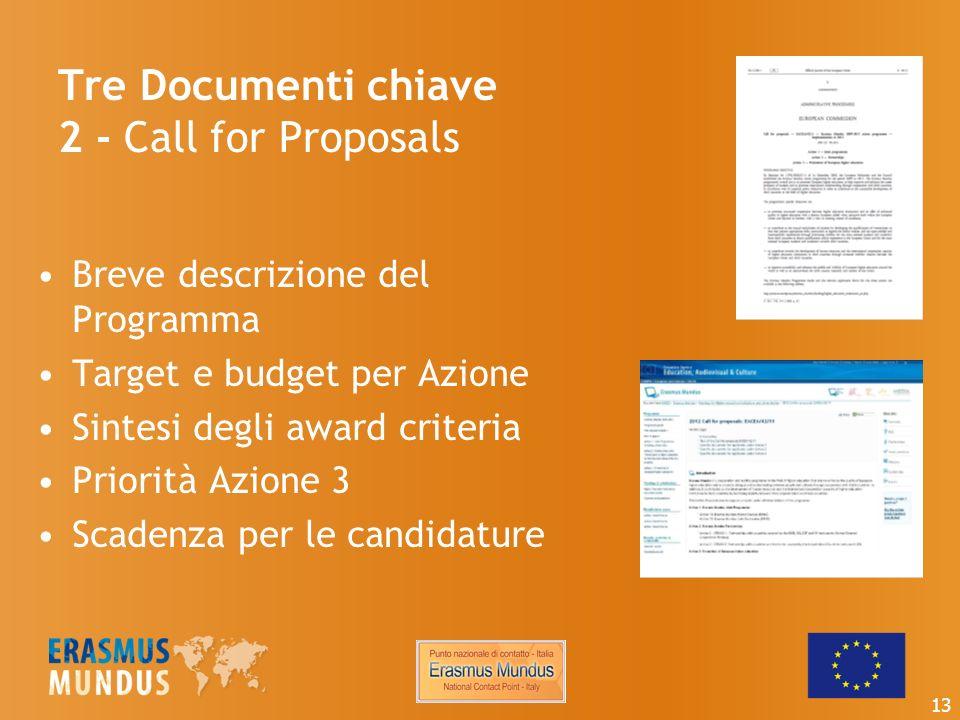 Tre Documenti chiave 2 - Call for Proposals Breve descrizione del Programma Target e budget per Azione Sintesi degli award criteria Priorità Azione 3 Scadenza per le candidature 13