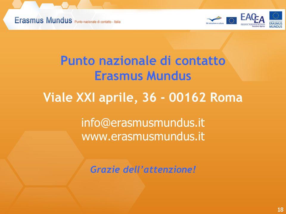 Punto nazionale di contatto Erasmus Mundus Viale XXI aprile, 36 - 00162 Roma info@erasmusmundus.it www.erasmusmundus.it Grazie dellattenzione! 18