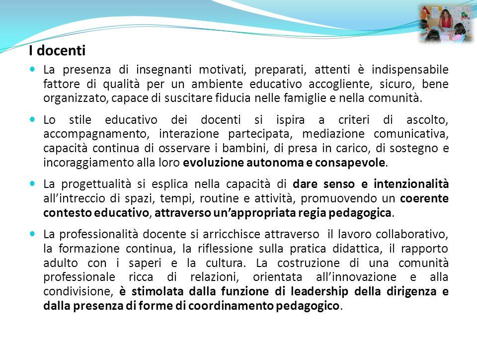 I docenti La presenza di insegnanti motivati, preparati, attenti è indispensabile fattore di qualità per un ambiente educativo accogliente, sicuro, be