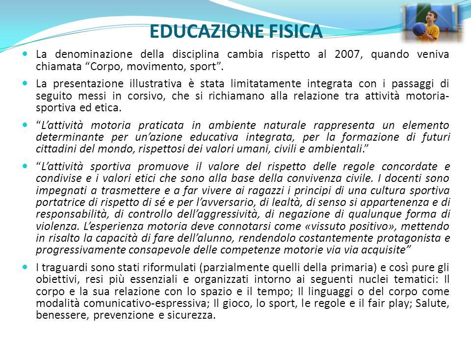 EDUCAZIONE FISICA La denominazione della disciplina cambia rispetto al 2007, quando veniva chiamata Corpo, movimento, sport. La presentazione illustra