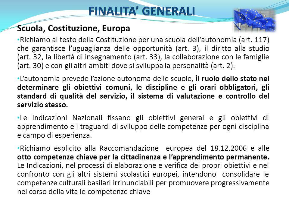 Scuola, Costituzione, Europa Richiamo al testo della Costituzione per una scuola dellautonomia (art. 117) che garantisce luguaglianza delle opportunit