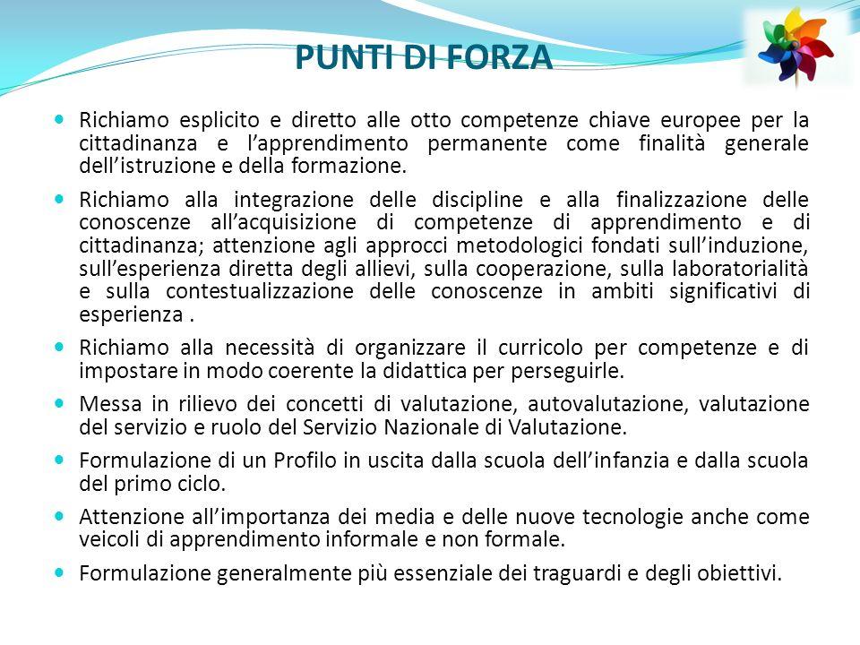 PUNTI DI FORZA Richiamo esplicito e diretto alle otto competenze chiave europee per la cittadinanza e lapprendimento permanente come finalità generale