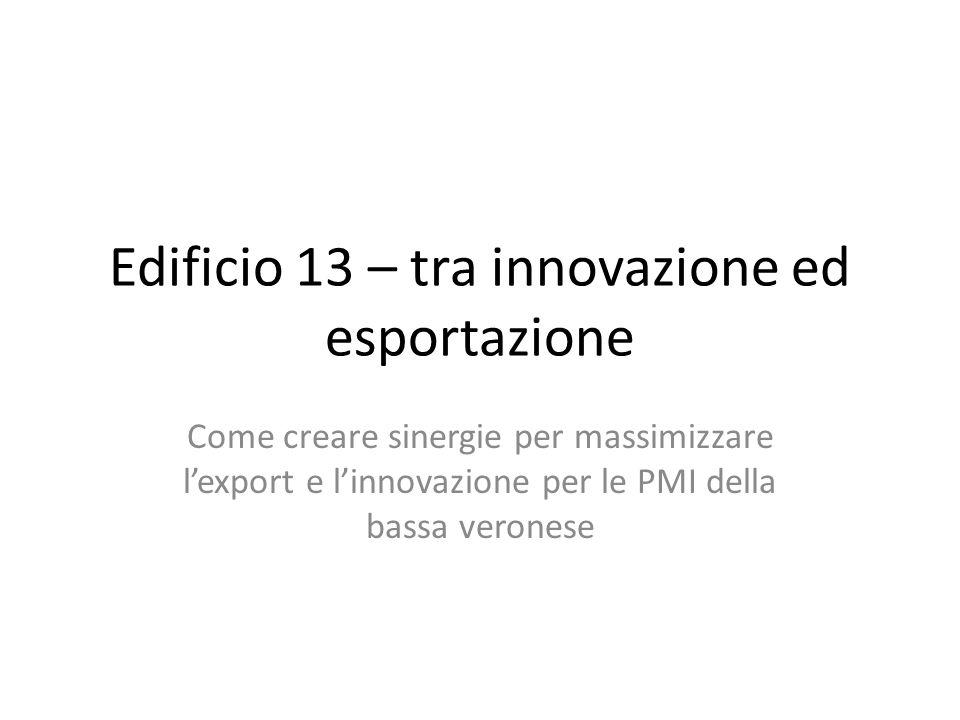 Edificio 13 – tra innovazione ed esportazione Come creare sinergie per massimizzare lexport e linnovazione per le PMI della bassa veronese