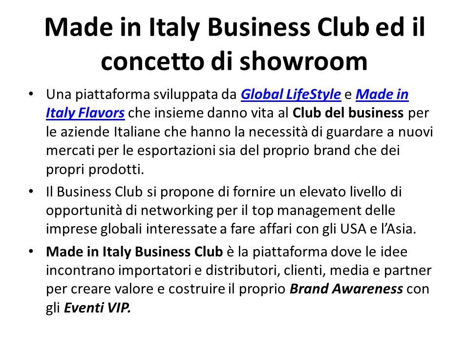 Made in Italy Business Club ed il concetto di showroom Una piattaforma sviluppata da Global LifeStyle e Made in Italy Flavors che insieme danno vita a