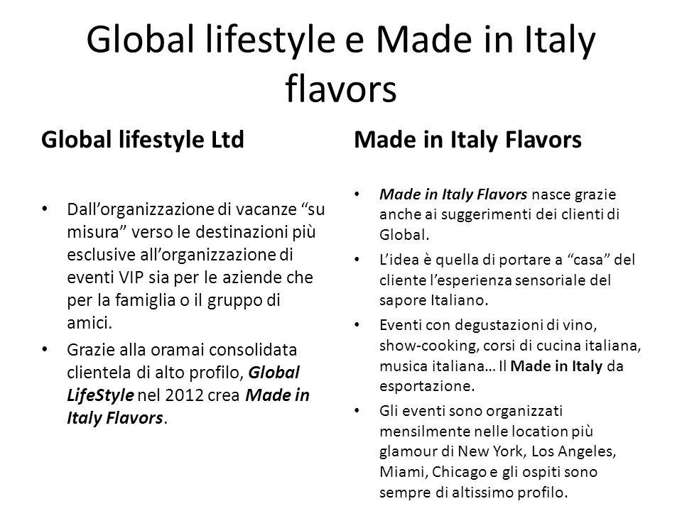 Global lifestyle e Made in Italy flavors Global lifestyle Ltd Dallorganizzazione di vacanze su misura verso le destinazioni più esclusive allorganizza