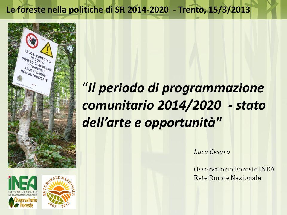 Struttura presentazione 1.Preambolo 2.Il contesto 3.Programmazione 2014-2020 - Le foreste e lo sviluppo rurale 4.Prospettive e opportunità