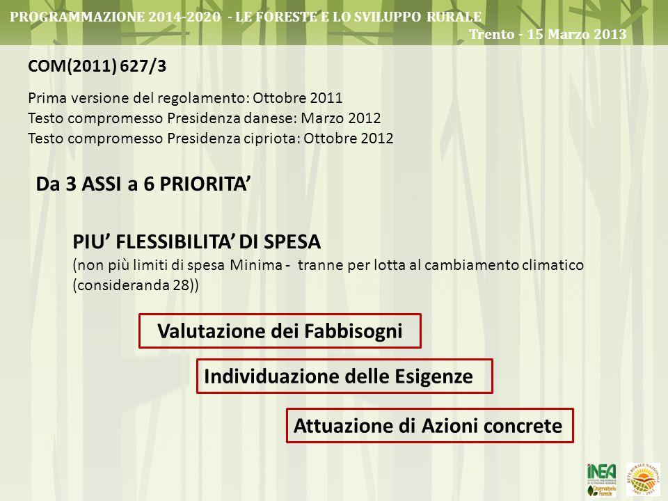 PROGRAMMAZIONE 2014-2020 - LE FORESTE E LO SVILUPPO RURALE Trento - 15 Marzo 2013 COM(2011) 627/3 Prima versione del regolamento: Ottobre 2011 Testo c
