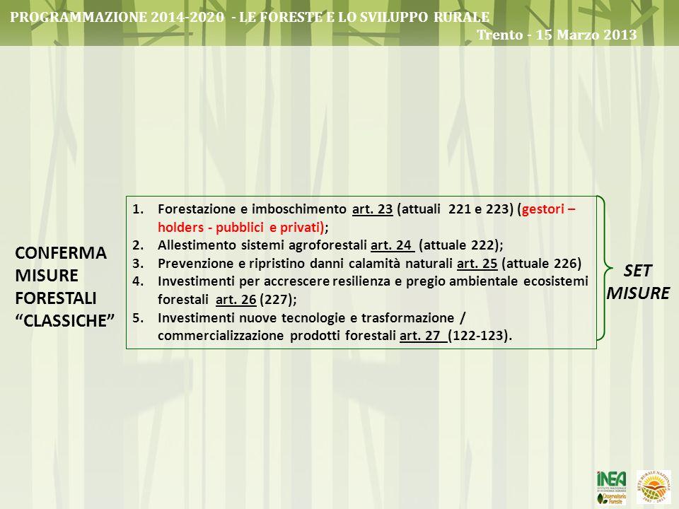 CONFERMA MISURE FORESTALI CLASSICHE 1.Forestazione e imboschimento art. 23 (attuali 221 e 223) (gestori – holders - pubblici e privati); 2.Allestiment