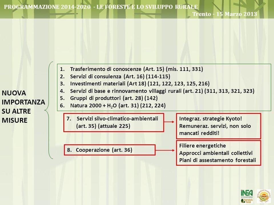 1.Trasferimento di conoscenze (Art. 15) (mis. 111, 331) 2.Servizi di consulenza (Art. 16) (114-115) 3.Investimenti materiali (Art 18) (121, 122, 123,