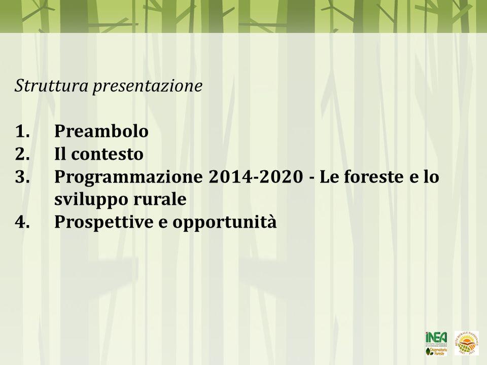 POLITICA AGRICOLA COMUNITARIA 2014-2020 Obiettivi Europa 2020 crescita intelligente, crescita sostenibile, crescita inclusiva Obiettivi PAC 2020 [COM (2010) 672_def] Produzione alimentare efficiente Gestione sostenibile delle risorse naturali Sviluppo territoriale equilibrato II PILASTRO Sviluppo Rurale Fondo Europeo Agricolo Sviluppo Rurale (FEASR) I PILASTRO Pagamenti diretti + Misure di mercato 6 PRIORITÀ COMUNITARIE PER LO SVILUPPO RURALE (1)Promuovere il trasferimento di conoscenze e l innovazione nel settore agricolo e forestale e nelle zone rurali; (2)Potenziare la competitività dell agricoltura in tutte le sue forme e la redditività delle aziende agricole; (3) Incentivare l organizzazione della filiera agroalimentare e la gestione dei rischi nel settore agricolo; (4) Preservare, ripristinare e valorizzare gli ecosistemi dipendenti dall agricoltura e dalle foreste; (5) Incoraggiare l uso efficiente delle risorse e il passaggio a un economia a basse emissioni di carbonio e nel settore agroalimentare e forestale; (6) Promuovere l inclusione sociale, la riduzione della povertà e lo sviluppo economico nelle zone rurali.