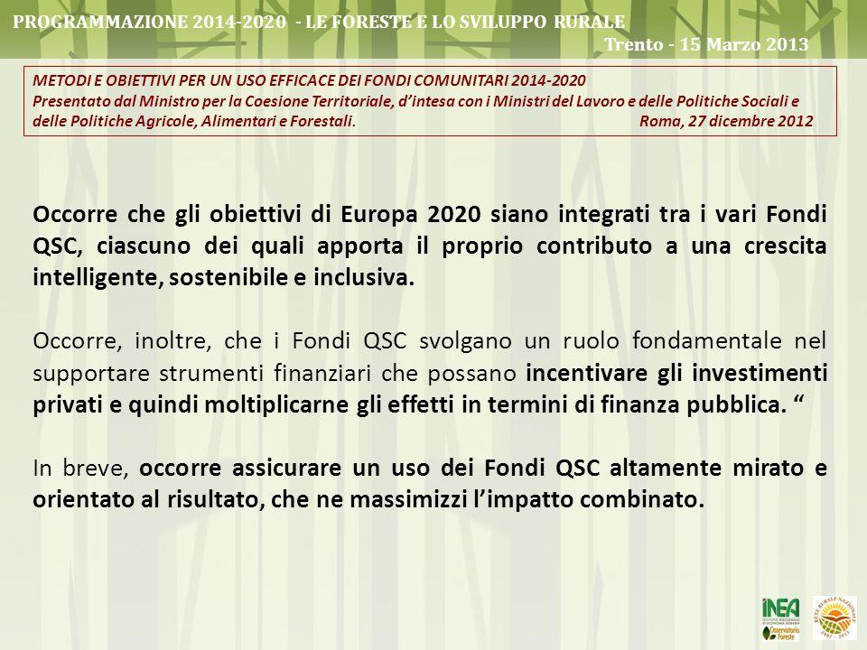 Occorre che gli obiettivi di Europa 2020 siano integrati tra i vari Fondi QSC, ciascuno dei quali apporta il proprio contributo a una crescita intelli