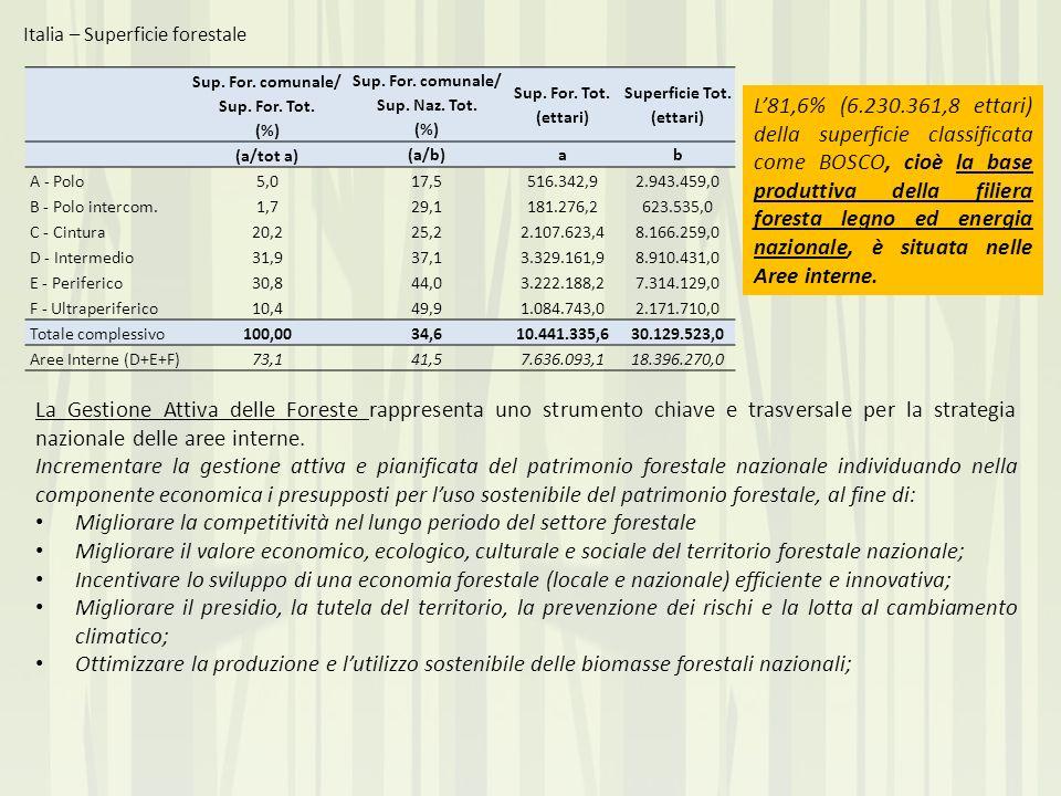 Italia – Superficie forestale L81,6% (6.230.361,8 ettari) della superficie classificata come BOSCO, cioè la base produttiva della filiera foresta legn