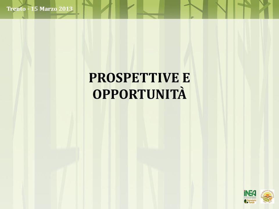 Trento - 15 Marzo 2013 PROSPETTIVE E OPPORTUNITÀ