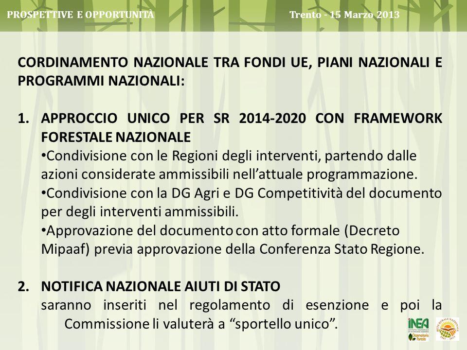 CORDINAMENTO NAZIONALE TRA FONDI UE, PIANI NAZIONALI E PROGRAMMI NAZIONALI: 1.APPROCCIO UNICO PER SR 2014-2020 CON FRAMEWORK FORESTALE NAZIONALE Condi