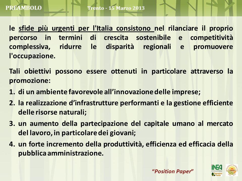 le sfide più urgenti per l'Italia consistono nel rilanciare il proprio percorso in termini di crescita sostenibile e competitività complessiva, ridurr