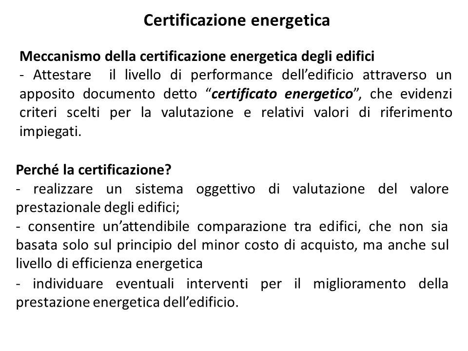 Certificazione energetica La prima direttiva europea concernente il rendimento energetico in edilizia è la Energy Performance Building Directive, (EPBD) 2002/91/CE.