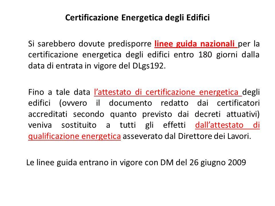 17 In fase transitoria Attestato di Qualificazione Energetica In attesa delle Linee Guida Nazionali, dalla cui entrata in Vigore manteneva validità solo per 12 mesi.