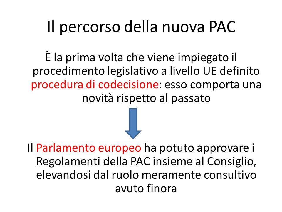 Il percorso della nuova PAC È la prima volta che viene impiegato il procedimento legislativo a livello UE definito procedura di codecisione: esso comp