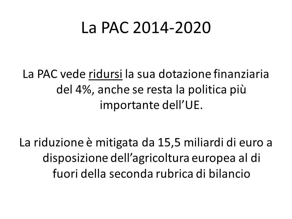 La PAC 2014-2020 La PAC vede ridursi la sua dotazione finanziaria del 4%, anche se resta la politica più importante dellUE. La riduzione è mitigata da
