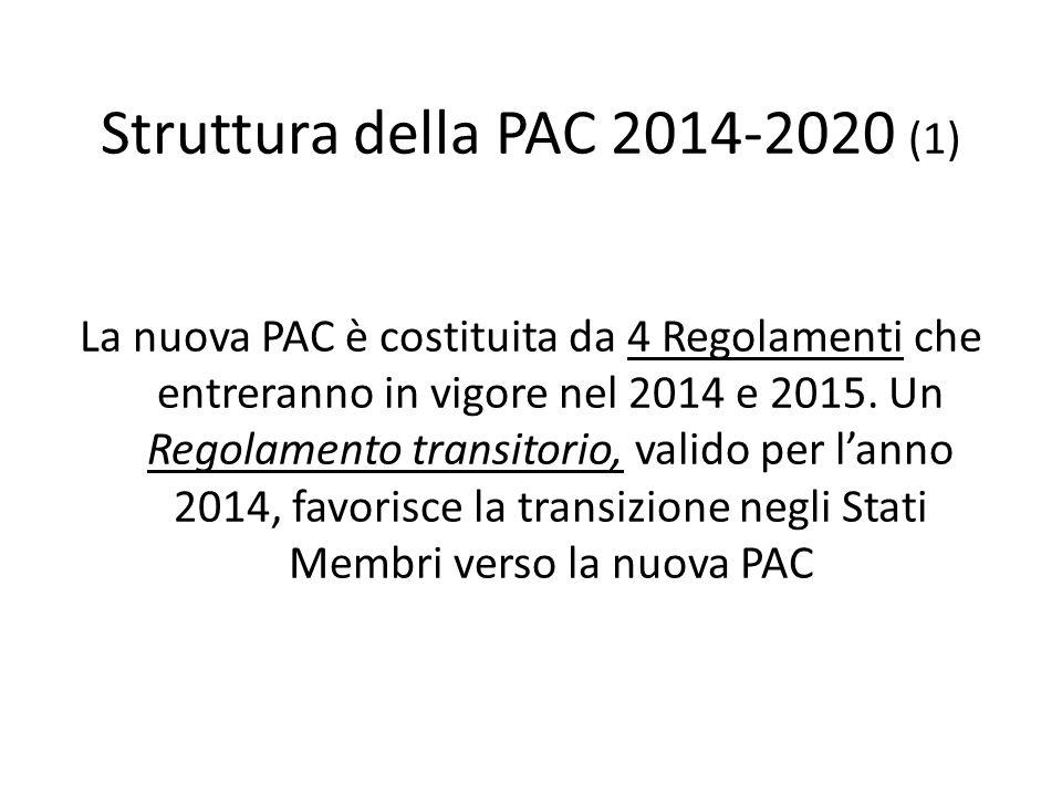 Struttura della PAC 2014-2020 (1) La nuova PAC è costituita da 4 Regolamenti che entreranno in vigore nel 2014 e 2015. Un Regolamento transitorio, val