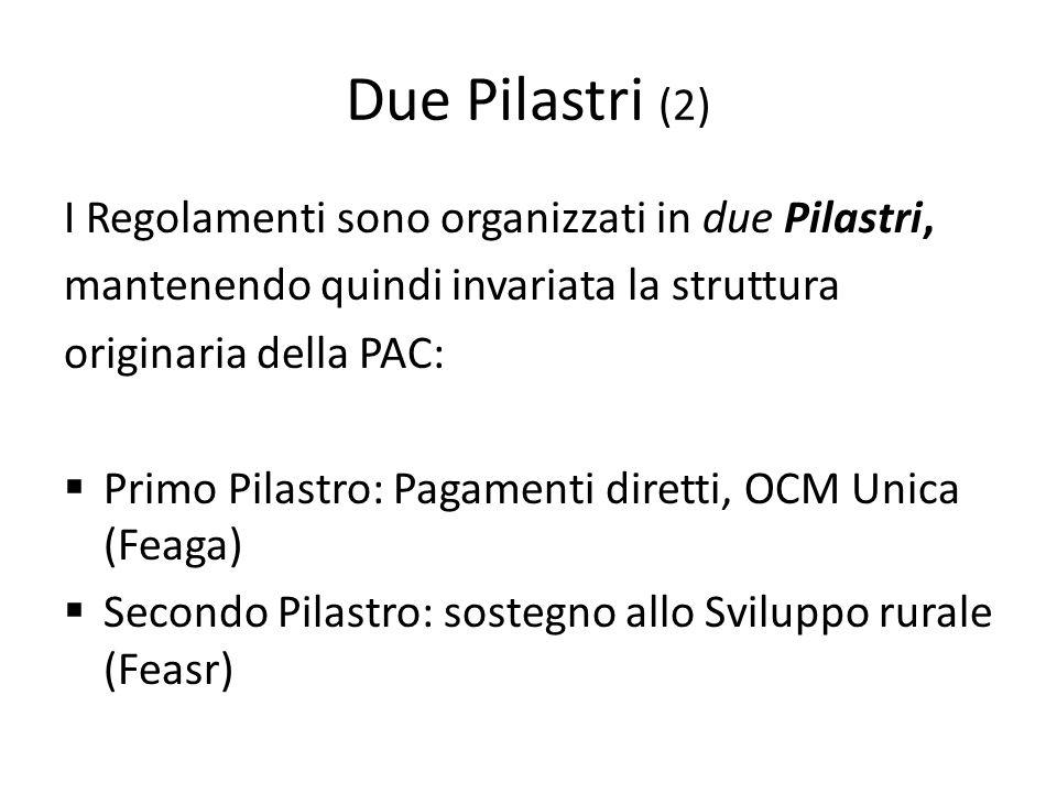 Due Pilastri (2) I Regolamenti sono organizzati in due Pilastri, mantenendo quindi invariata la struttura originaria della PAC: Primo Pilastro: Pagame