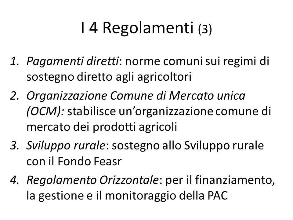 I 4 Regolamenti (3) 1.Pagamenti diretti: norme comuni sui regimi di sostegno diretto agli agricoltori 2.Organizzazione Comune di Mercato unica (OCM):