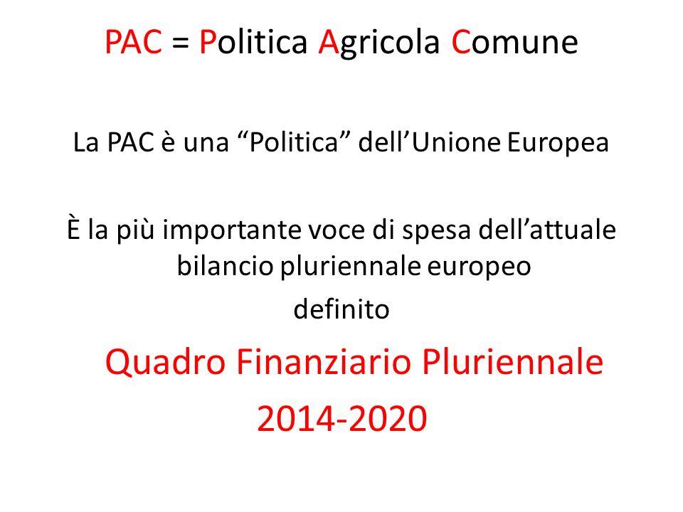 PAC = Politica Agricola Comune La PAC è una Politica dellUnione Europea È la più importante voce di spesa dellattuale bilancio pluriennale europeo def