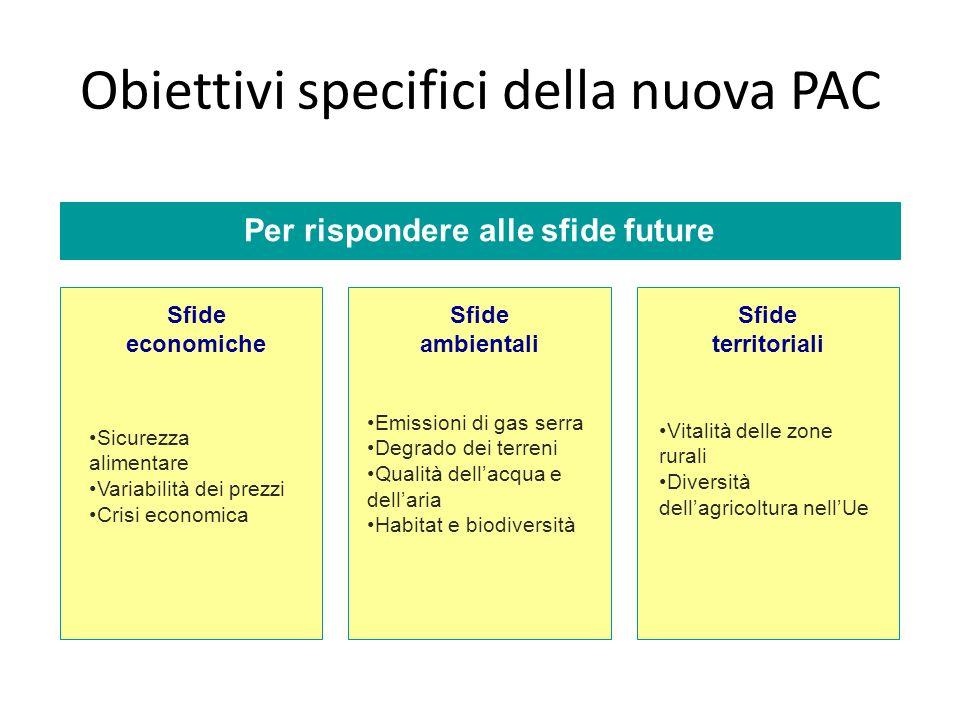 Obiettivi specifici della nuova PAC Per rispondere alle sfide future Sfide economiche Sfide ambientali Sfide territoriali Sicurezza alimentare Variabi