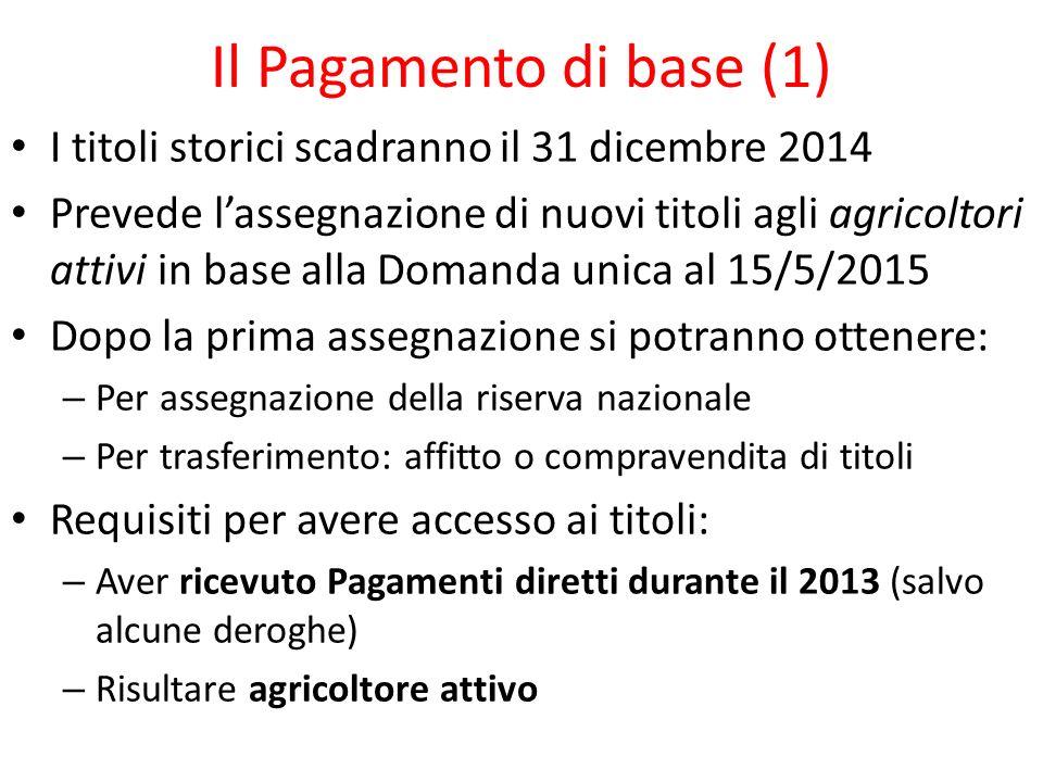 Il Pagamento di base (1) I titoli storici scadranno il 31 dicembre 2014 Prevede lassegnazione di nuovi titoli agli agricoltori attivi in base alla Dom