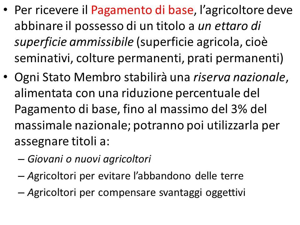 Per ricevere il Pagamento di base, lagricoltore deve abbinare il possesso di un titolo a un ettaro di superficie ammissibile (superficie agricola, cio