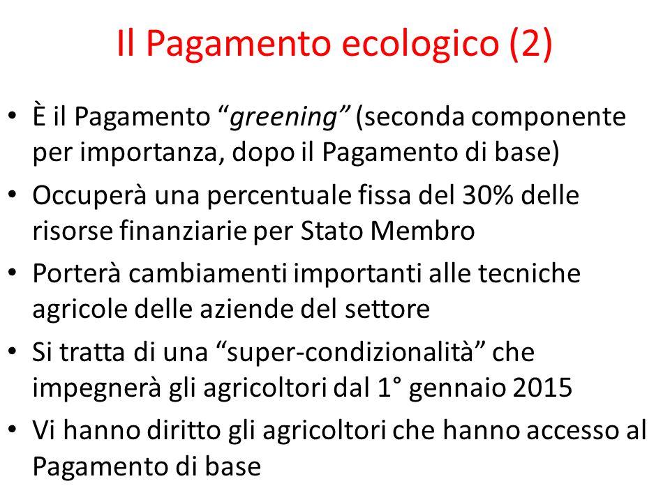 Il Pagamento ecologico (2) È il Pagamento greening (seconda componente per importanza, dopo il Pagamento di base) Occuperà una percentuale fissa del 3