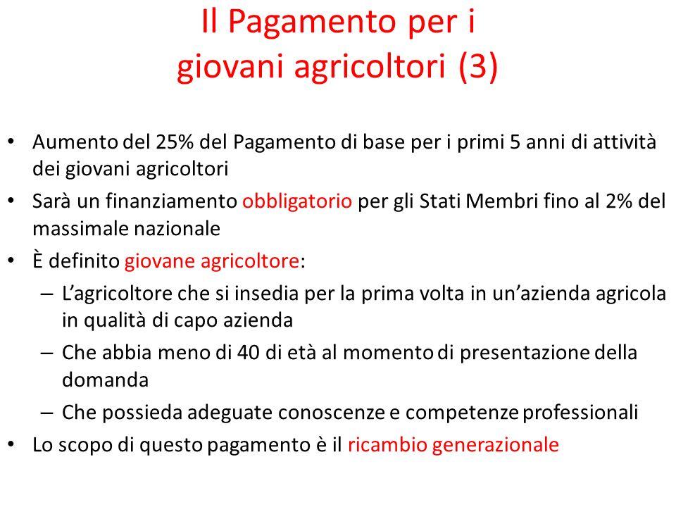 Il Pagamento per i giovani agricoltori (3) Aumento del 25% del Pagamento di base per i primi 5 anni di attività dei giovani agricoltori Sarà un finanz